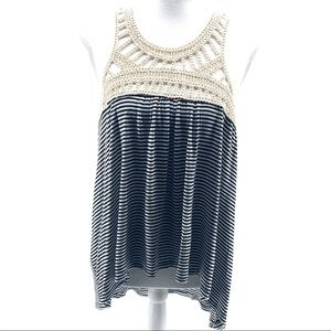 Tres Bien Black White Stripe Cream Crochet Tank